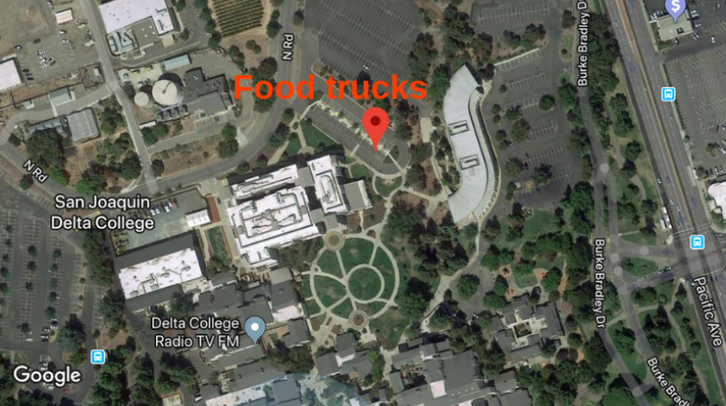 Two food trucks will be stationed in the C6 parking lot during summer 2019. The parking lot is located between the DeRicco Student Services Building and the Science and Math Building.