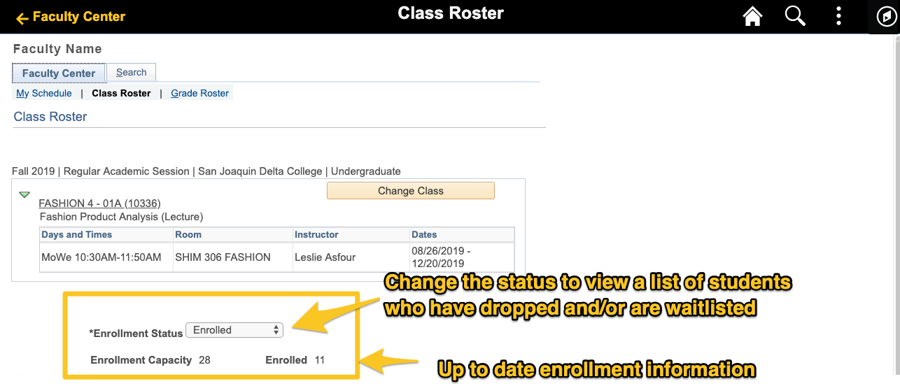 Class Roster Status