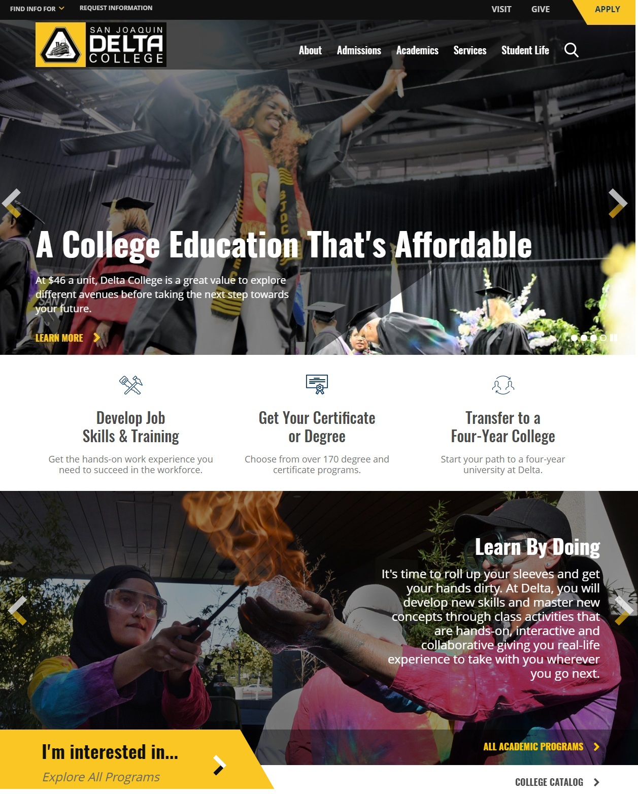 San Joaquin Delta College has launched a new website at www.deltacollege.edu