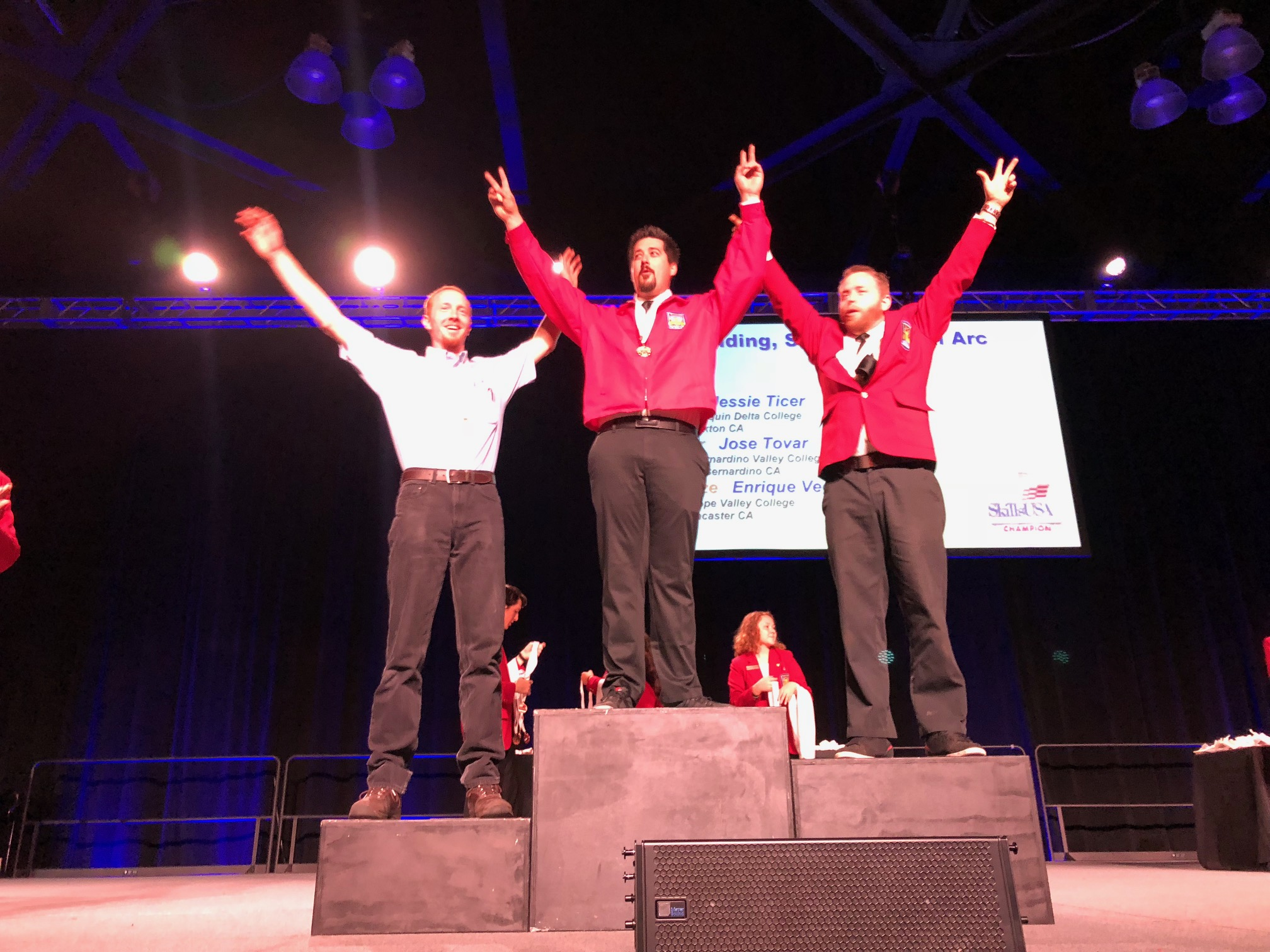 Shane Gallagher of San Joaquin Delta College stands atop the podium at the SkillsUSA state competition this year.