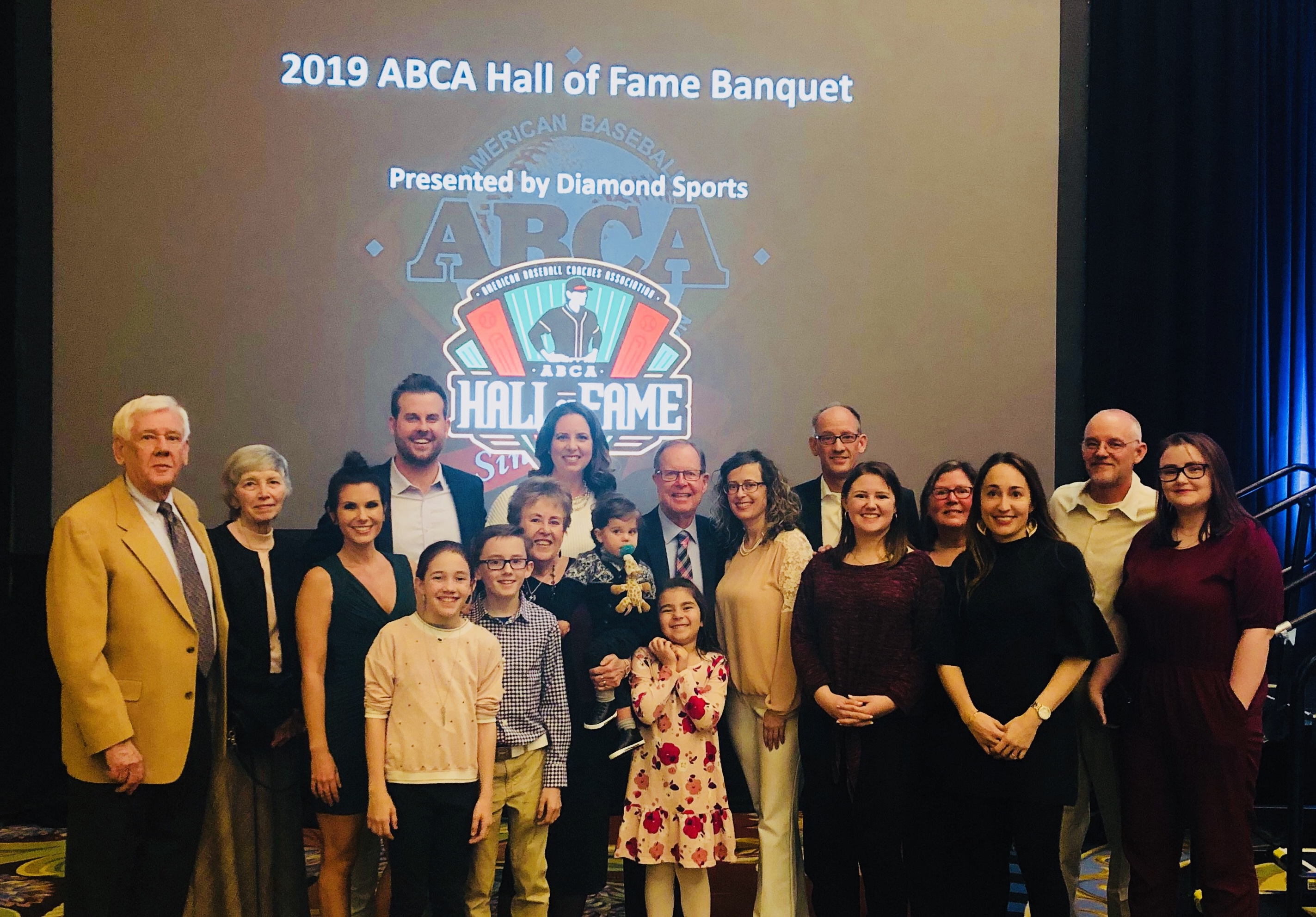 Coach Pat Doyle, surrounded by family and friends at his Hall of Fame induction. Doyle coached baseball at San Joaquin Delta College from 1977 through 2000.