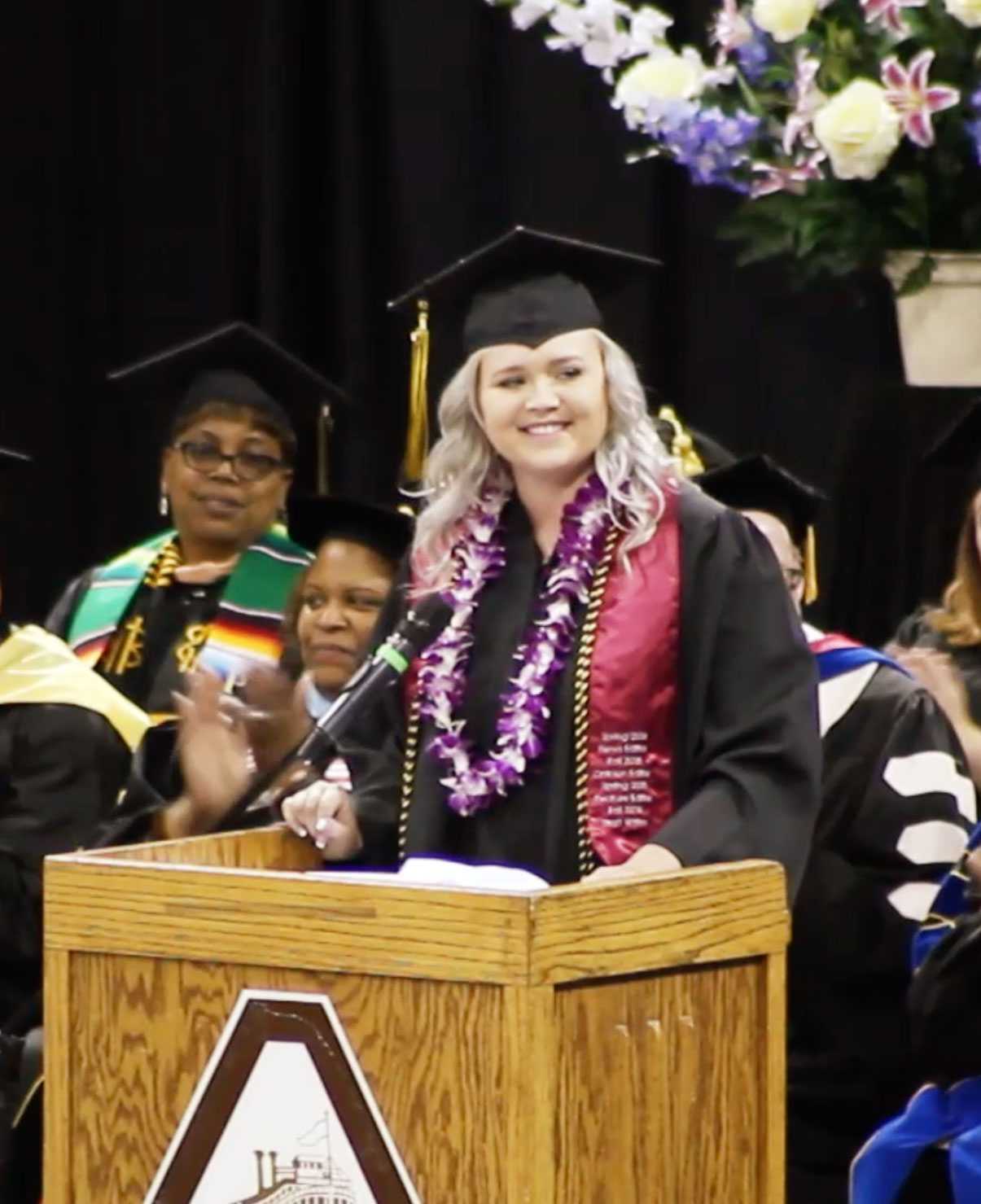 Megan Maxy speaks at commencement