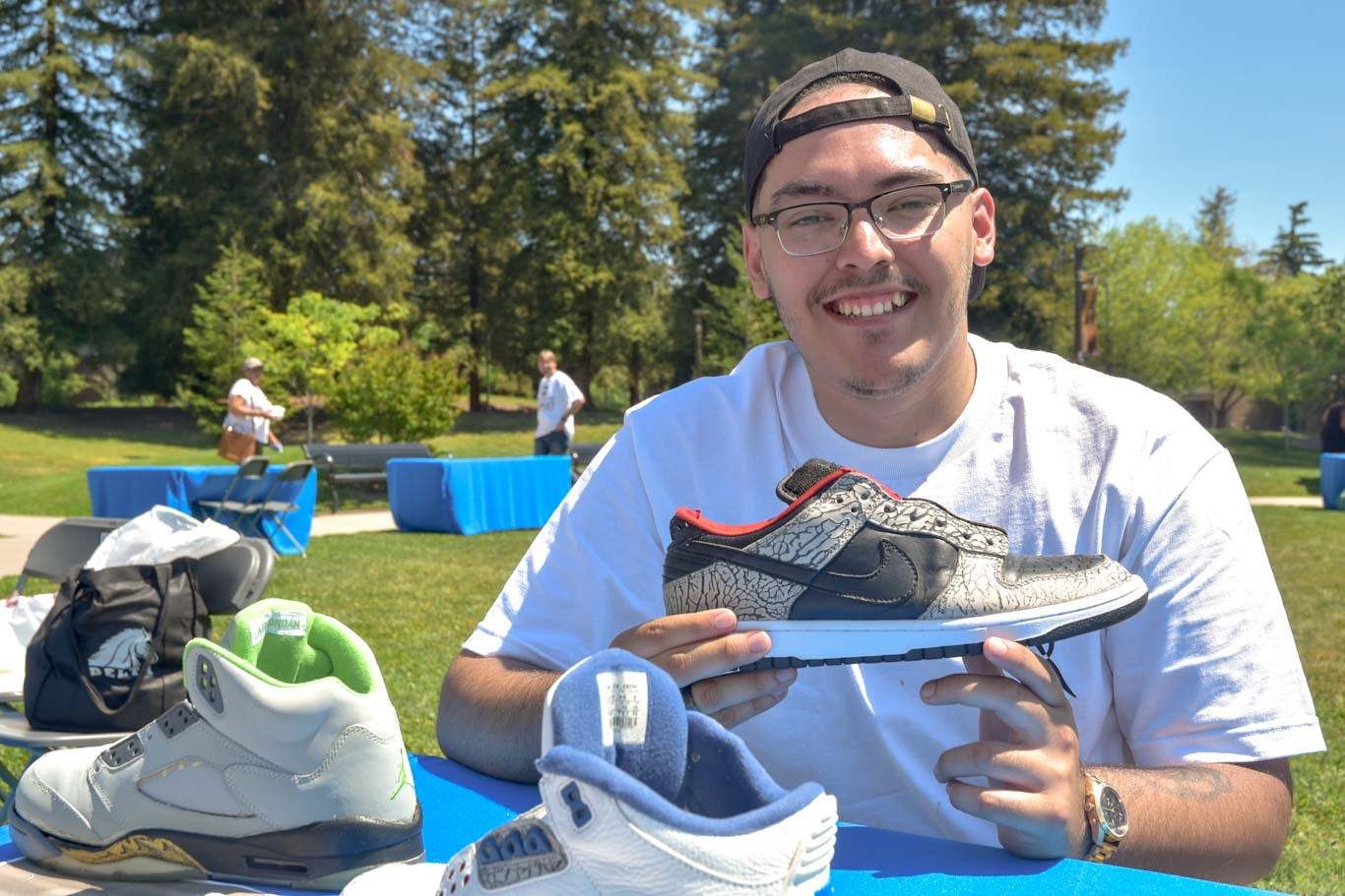 """Sal the Sneakerhead"" restores shoes for customers as far away as Florida. He participated in the Student Entrepreneur Expo at San Joaquin Delta College."