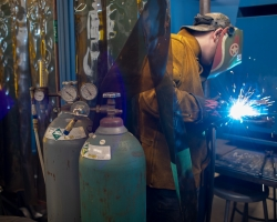 San Joaquin Delta College has been named the fourth-best community college in the U.S. by personal finance website WalletHub. Pictured here, a Delta College welder hones his skill.