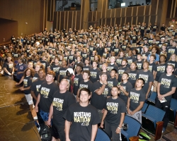 An accreditation team will visit San Joaquin Delta College in March 2020, and the public is invited to submit comments ahead of time. Pictured here, Mustang athletes crowd into the Tillie Lewis Theatre for a photo shoot.