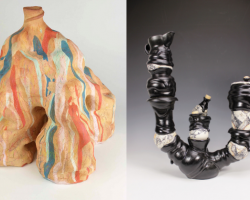 """""""Visions in Clay"""" runs Sept. 5-27 at the L.H. Horton Art Gallery on the San Joaquin Delta College campus. Pictured here are Kayla King's """"Communal Backwash"""" (left) and Ryan Schulz's """"Pumpkin Spice and Everything Nice."""""""