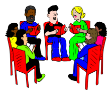 Group of students sitting in a circle