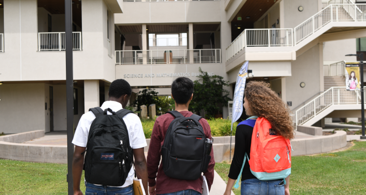 Students at Delta's Science and Math Building