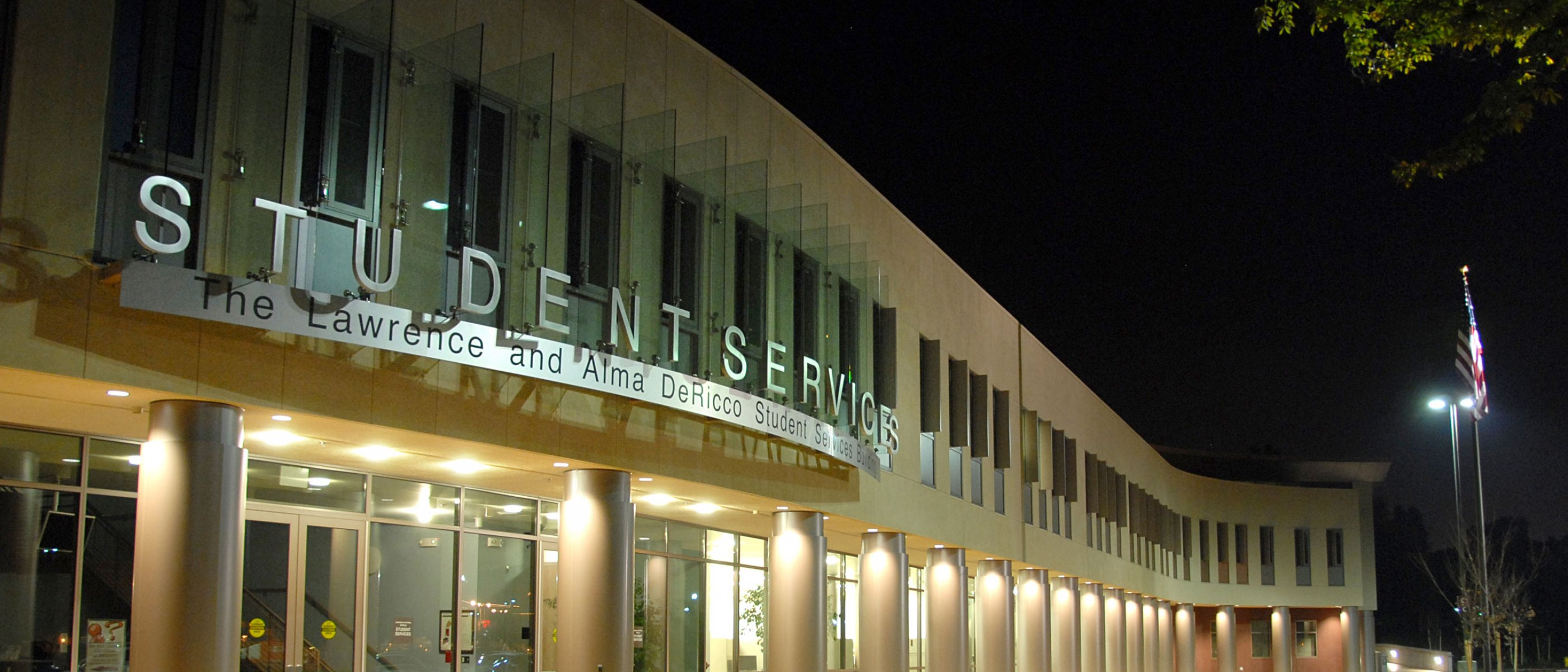 Dericco student services at night