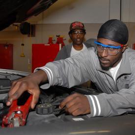 Students work in auto program
