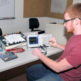 Student works during electrical technology class